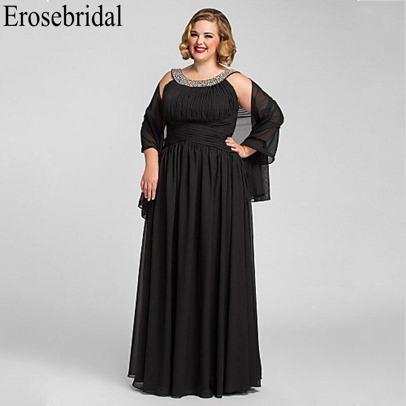 Erosebridal Black   Evening     Dress   Plus Size Chiffon Long Elegant   Evening     Dress   Party Sparkly Beaded with Shawl Zipper Back