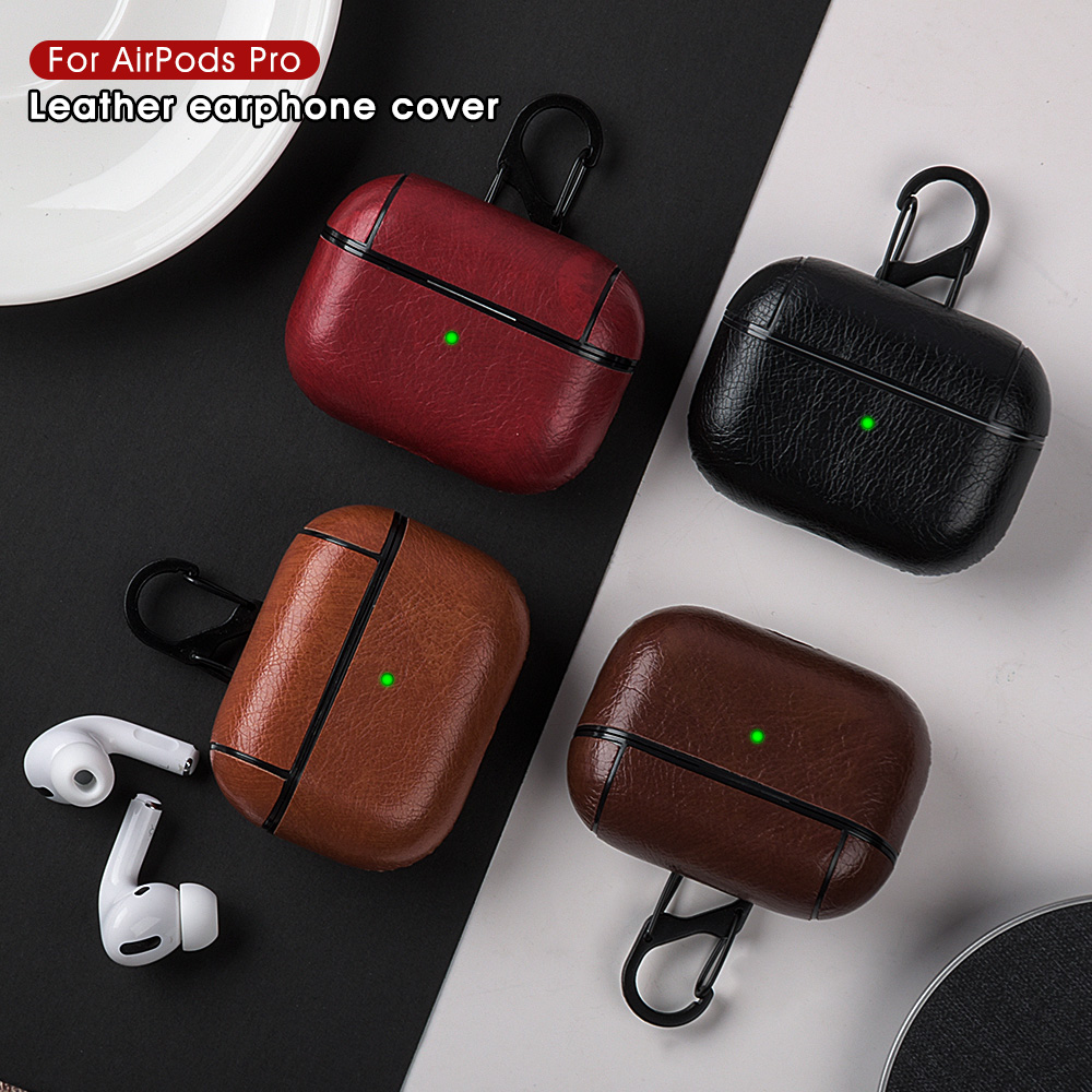PU Leather Case For Airpods Pro Luxury Protective Cover With Anti-lost Buckle For Air Pods Pro 3 Headphone Earpods Fundas