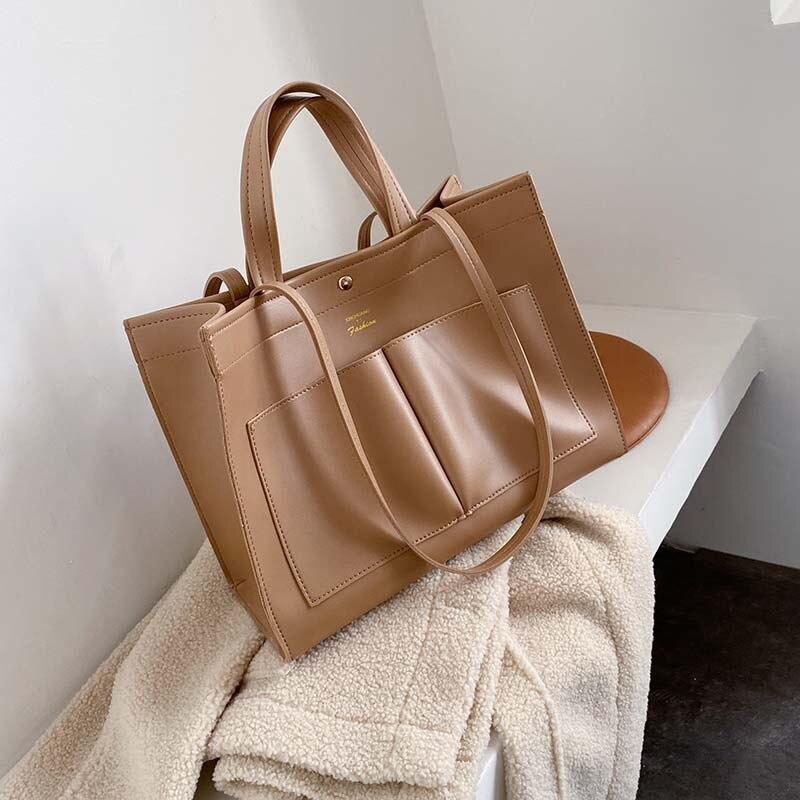 Image 2 - NEW 2019 big Women Handbag Leather Women Shoulder Bags Designer Women Messenger Bags Ladies Casual Tote Bags sac a mainShoulder Bags   -