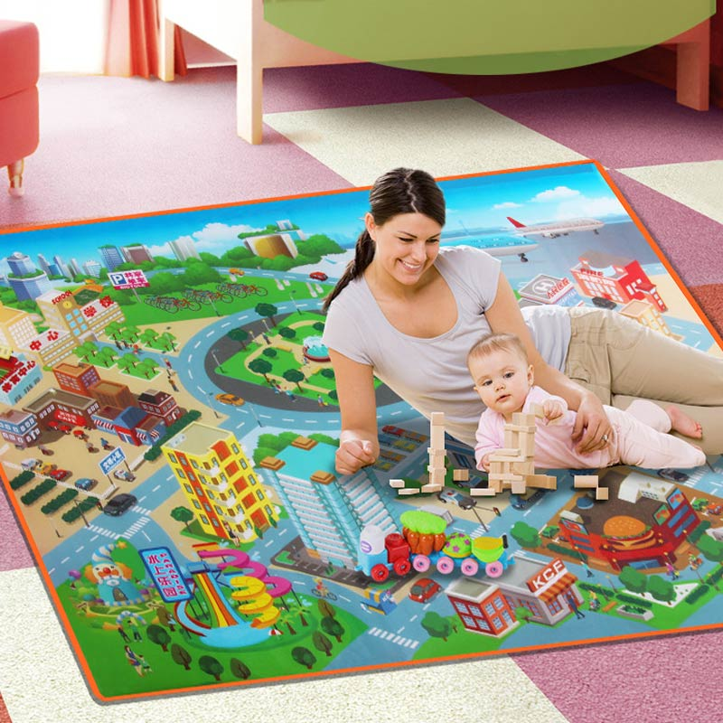 Children Kids Baby Crawling Blanket Carpet Rug City Life Learn To Walk Road Traffic Play Mat Home Hot Sales
