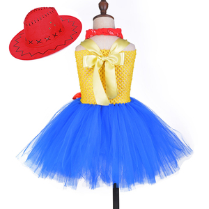 Image 4 - Toy Woody Cowboy Cowgirl Girls Tutu Dress with Hat Scarf Set Outfit Fancy Tulle Girl Birthday Party Dress Kids Halloween Costume