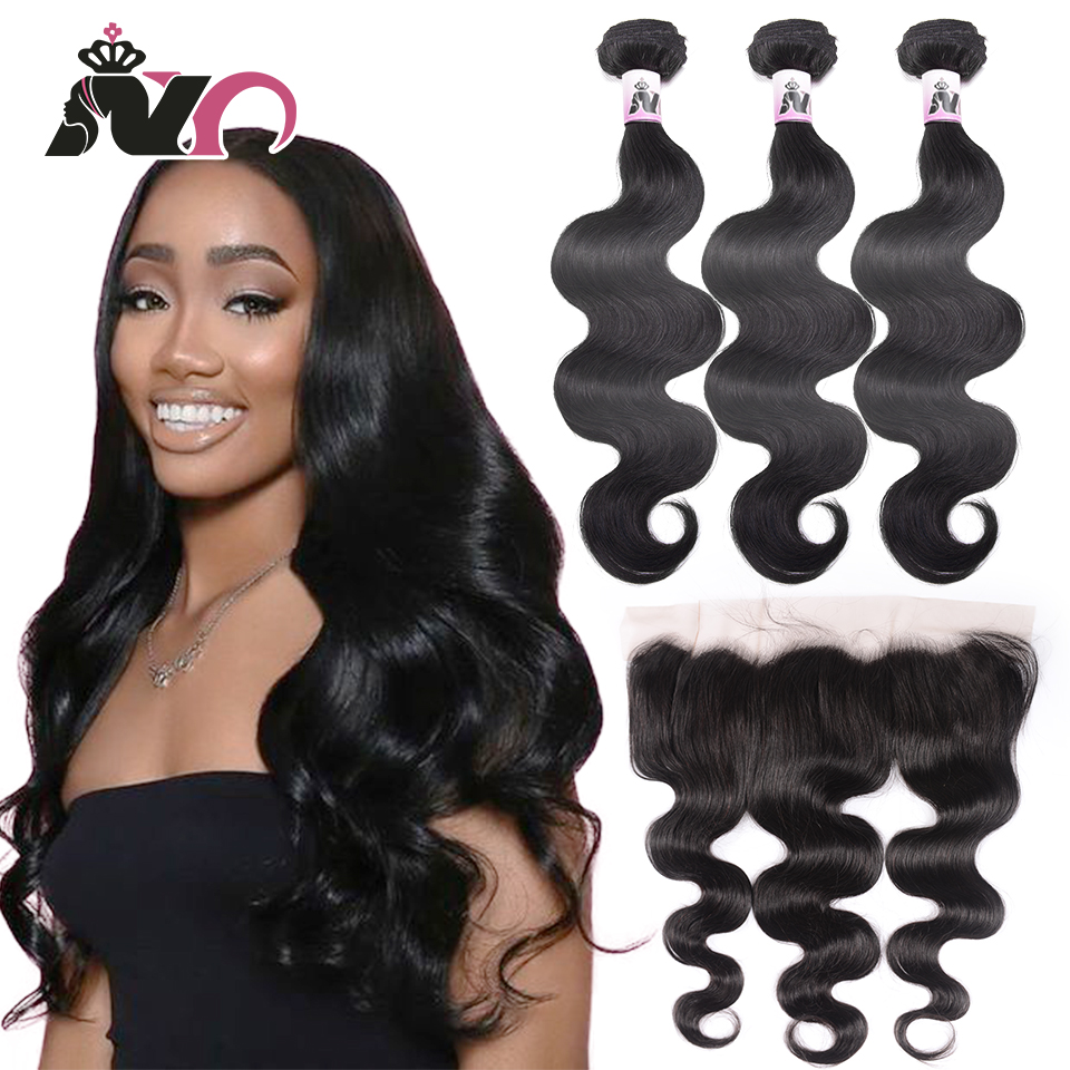 NY Hair Body Wave Bundles With Closure Non-Remy Hair Frontal With Bundles Brazilian Human Hair Bundles With Ear To Ear Frontal