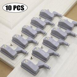 10Pcs Led Inner Scharnier Lamp Onder Kast Licht Universele Garderobe Sensor Licht Lampen Kast Kast Keuken Slaapkamer Nachtlampje