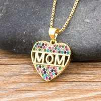 Collar con colgante de corazón de circonia cúbica para mujer, cadena larga de serpiente, regalo para el día de la madre