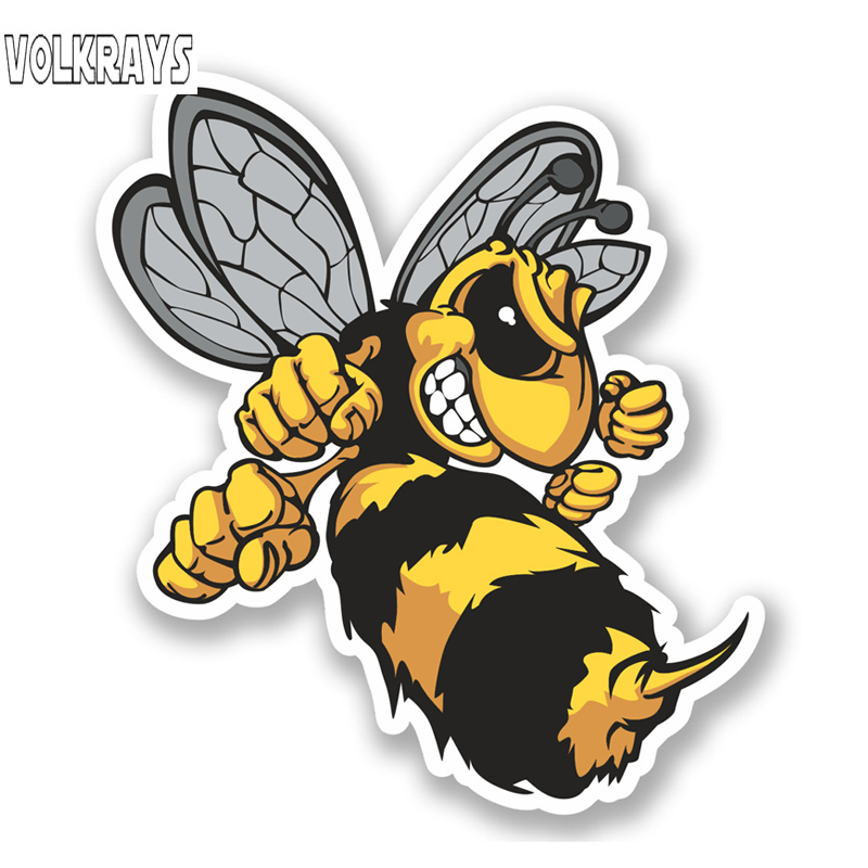 Volkrays Lovely <font><b>Car</b></font> <font><b>Sticker</b></font> <font><b>Angry</b></font> Hornets Accessories Reflective Warning PVC Decal for Renault Logan Mercedes W203 Gti,14cm*12cm image