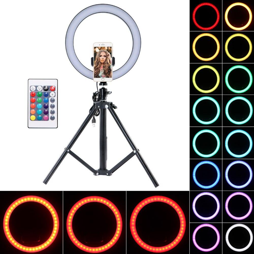 Светильник для селфи в форме кольца Регулируемый Телескопический штатив и зажим для телефона пульт дистанционного управления кольцевой заполняющий светильник пульт дистанционного управления Штативы      АлиЭкспресс