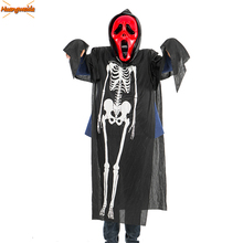 Horror Ghost Costume Scary Halloween kids Costumes For Man Demon Purim Cosplay Adult Robe Mask