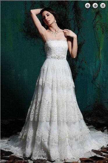 Free Shipping Lace Appliques A-line Vestido De Noiva Renda 2016 New Fashionable Sexy Belt Romantic Wedding Dress Bridal Gowns