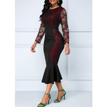 Autumn Winter Dress Women 2019 Casual Plus Size Slim Office Bodycon Dresses Vintage Elegant Sexy Lace Long Mermaid Party Dress 5
