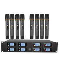 Professional wireless microphone system UHF 8 channel fixed frequency dynamic display KTV conference vocal microphone