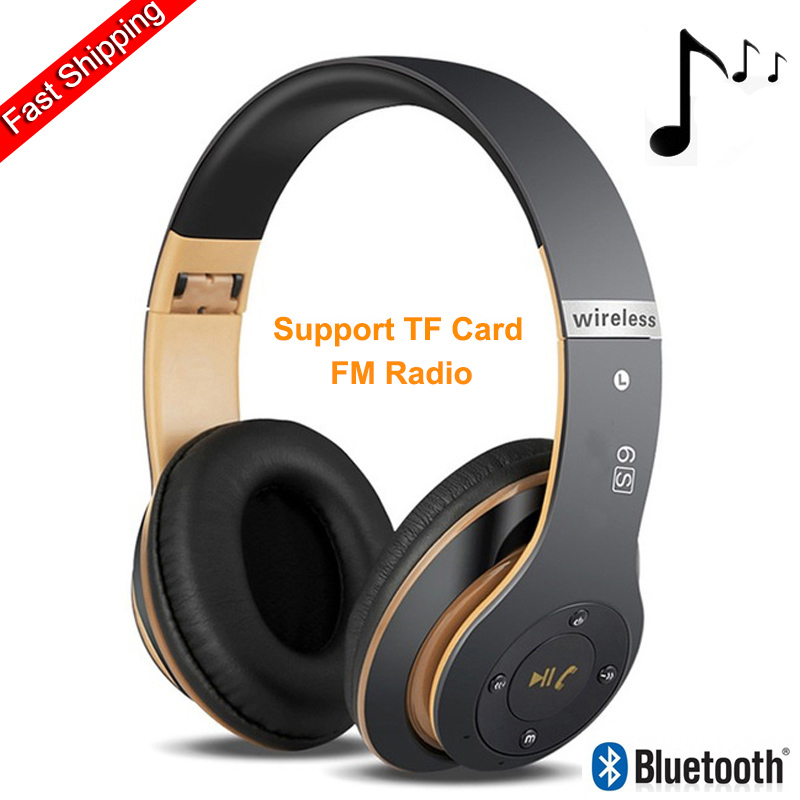 6S Wireless Headphones Hifi Casque Audio Bluetooth Over Ear Headphone Stereo Bass Subwoofer Headset With Mic Support TF Card FM