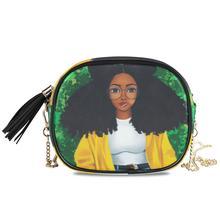 ALAZA Shoulder crossbody bag women bags 2020 PU Leather Chain bags Afro Girls black Women Messenger Bag Small Square purse Bags