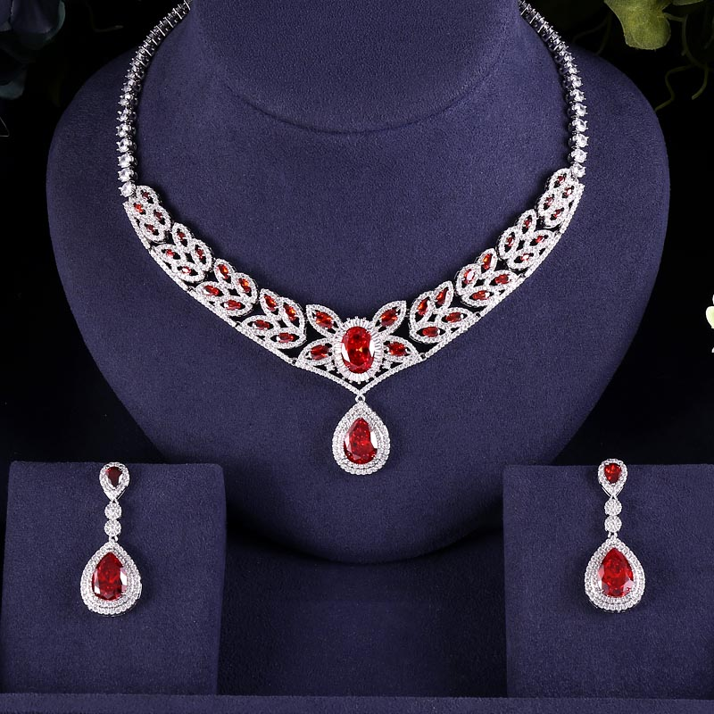 EARRINGS NECKLACE ACCESSARIES ZIRCON Bridal-Jewelry-Set Wedding-Dress CRYSTAL BRILLIANT