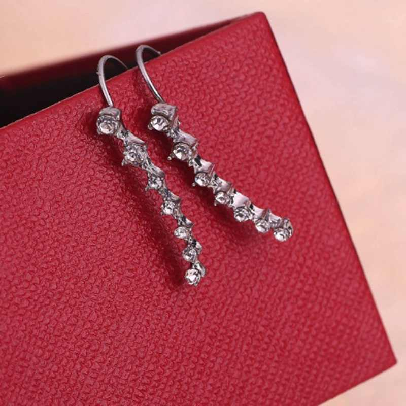 Alloy Stud Earrings  High-grade Non-allergic Color Simulated Diamonds Ear Stud Concise Fashion Earrings for women