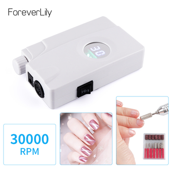 Professional 30000RPM Portable Electric Nail Drill Machine Rechargeable Cordless Manicure Pedicure Set For Nail Equipment White