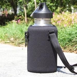 Черная Спортивная крышка для бутылки A2000 мл, однослойный чайник, набор чашек с защитой от ожогов, можно напечатать логотип, подвесной изоляционный рукав