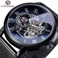 Forsining Retro Fashion Design Skeleton Sport Mechanical Watch Luminous Hands Transparent Mesh Bracelet For Men Top Brand Luxury