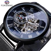Forsining Retro Fashion Design Skeleton Sport Mechanical Watch Luminous Hands Transparent Mesh Bracelet For Men Top Brand Luxury цены онлайн