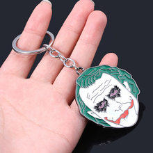 Enamel Movie Anime Joker Keychain Sad Face Key Chain Cosplay Props Accessories Metal Cartoon Key Ring Pendant Fans Man Gifts Hot(China)