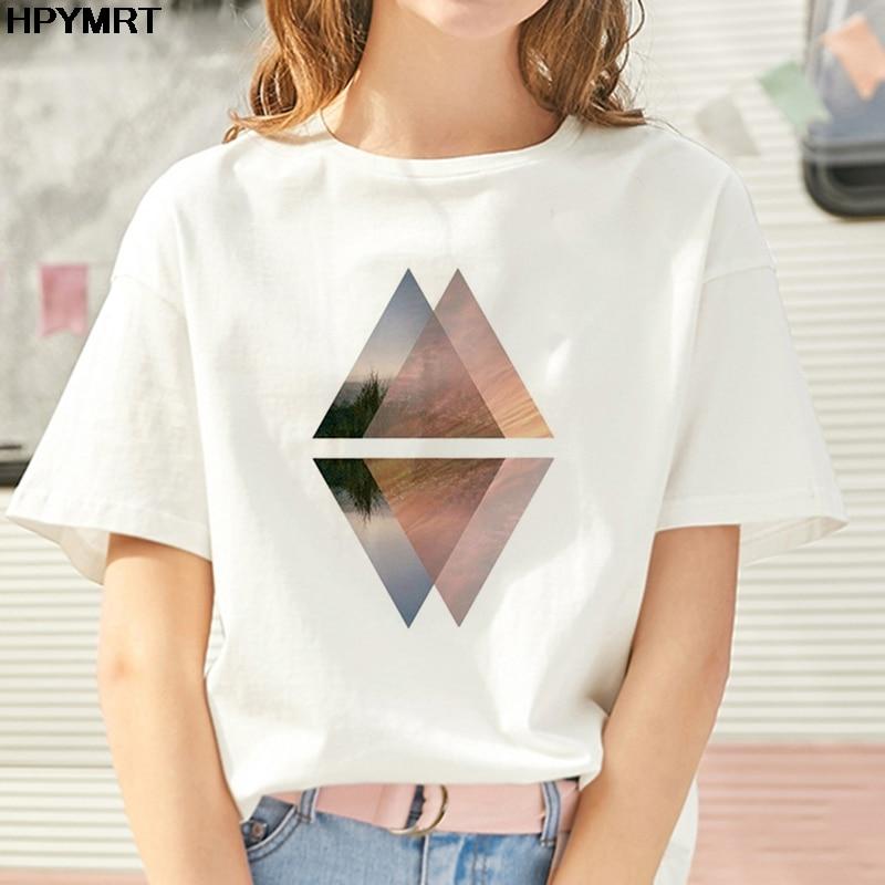 New Geometric Figure Printed T Shirt Women Clothes White TShirt Harajuku Fashion Landscape T-shirt Leisure Female Tops Clothing
