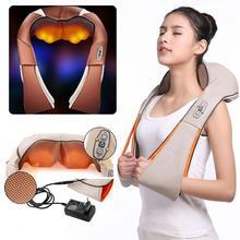 Aquecimento elétrico shiatsu volta pescoço massageador ombro corpo massageador infravermelho aquecido amassar carro/casa massagem relaxar