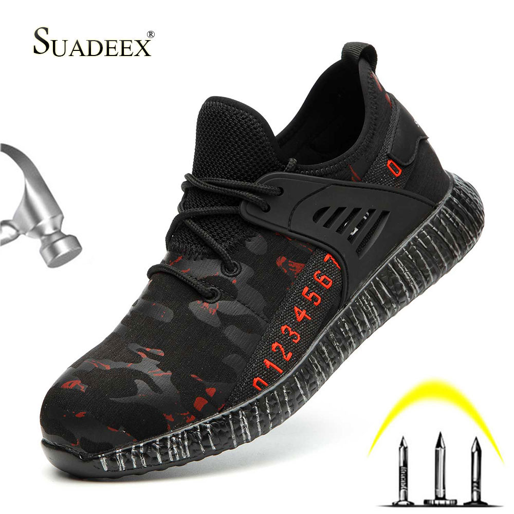 SUADEEX Safety Steel Toe Shoes For Men Women Breathable Waterproof Puncture Proof Work Construction Indestructible Shoes Plug 48