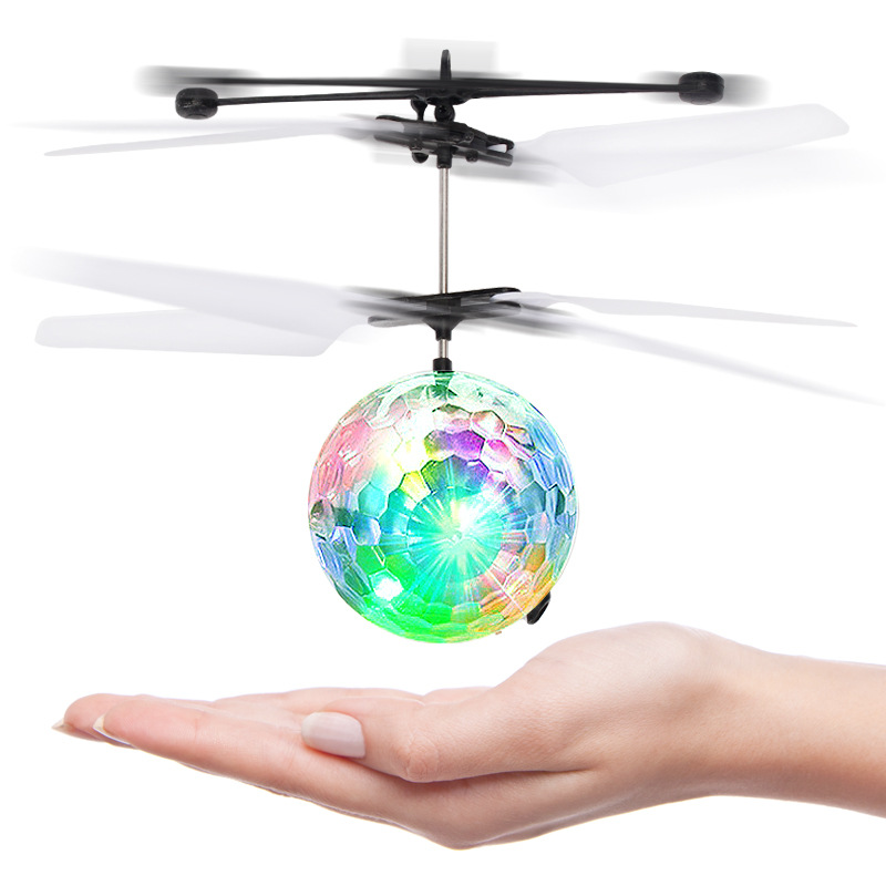 Foreign Trade Hot Selling Sensing Crystal Fly Ball Ye Guang Zhu Shining Colorful Light Round Ball Induction Vehicle Toy Model