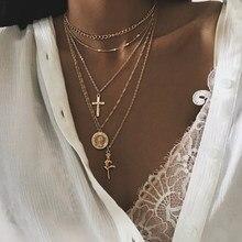 Модные многослойные ожерелья с крестом для женщин очаровательные ожерелья-Чокеры золотого цвета ожерелье в стиле бохо женские ожерелья юв...