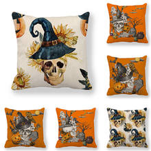 45cm*45cm Cushion cover A skull in a hat on Halloween Design linen/cotton pillow case sofa and Home decorative pillow cover