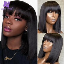 Human-Hair-Wigs Luffy Bangs Short Bob Straight-Glueless Black-Women with Indian Made