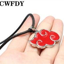 CWFDY Fashion anime naruto naszyjnik Akatsuki wisiorek metalowy czerwony chmura naszyjnik i wisiorek czarna lina naszyjnik łańcuszkowy biżuteria unisex