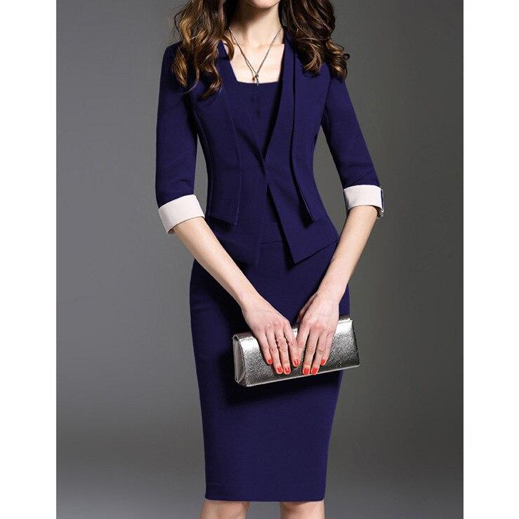 Plus Size Fashion Women Solid Pencil Dress Vintage Empire Half Sleeve Work Dress Knee Length Bodycon Dress