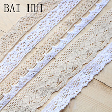 5 yard lot woven cotton lace trim DIY sewing curtain craft decoration baby blue pink ribbon