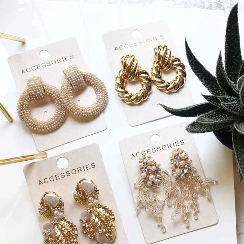 Best lady ZA Crystal Geometric Drop Earrings Women Wedding Simulated Pearls Christmas Girls Gifts Earring Accessories Wholesale