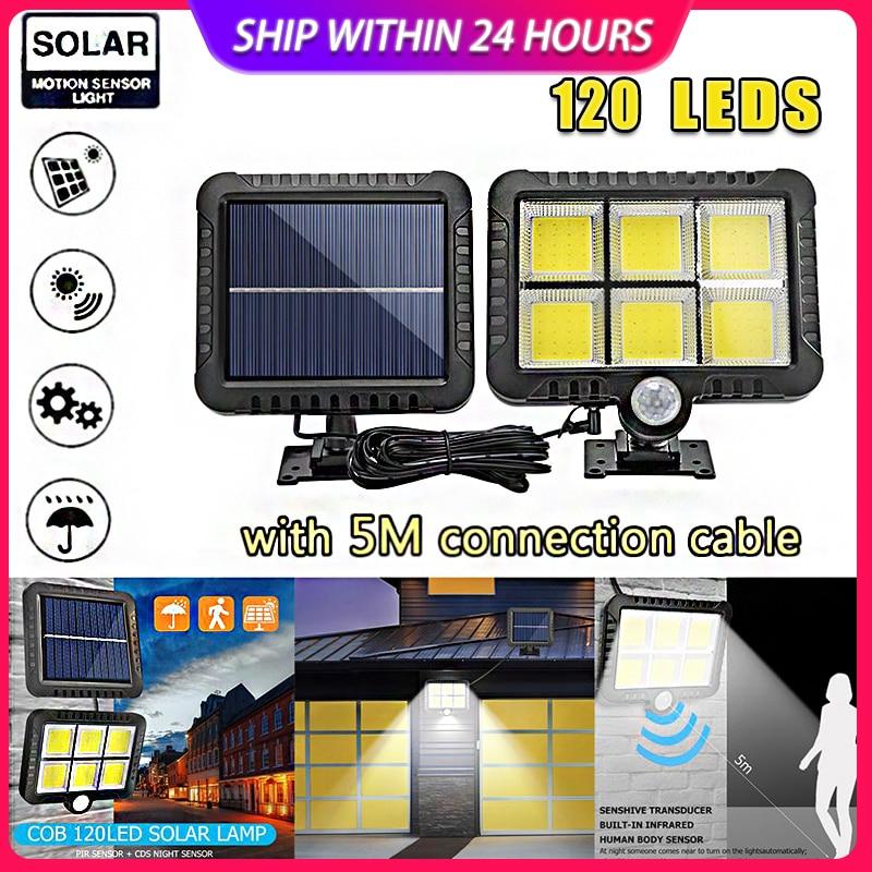120LED COB Solar Light Motion Sensor Outdoor Waterproof Solar Garden Lights For Path Led Street Split IP65 Solar Wall Lamp