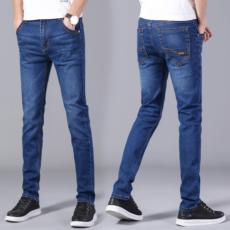 Jeans Men's Spring And Summer Thin Section Breathable Fashion Men'S Wear Slim Fit Pencil Pants Elasticity Pants Medium Waist Was