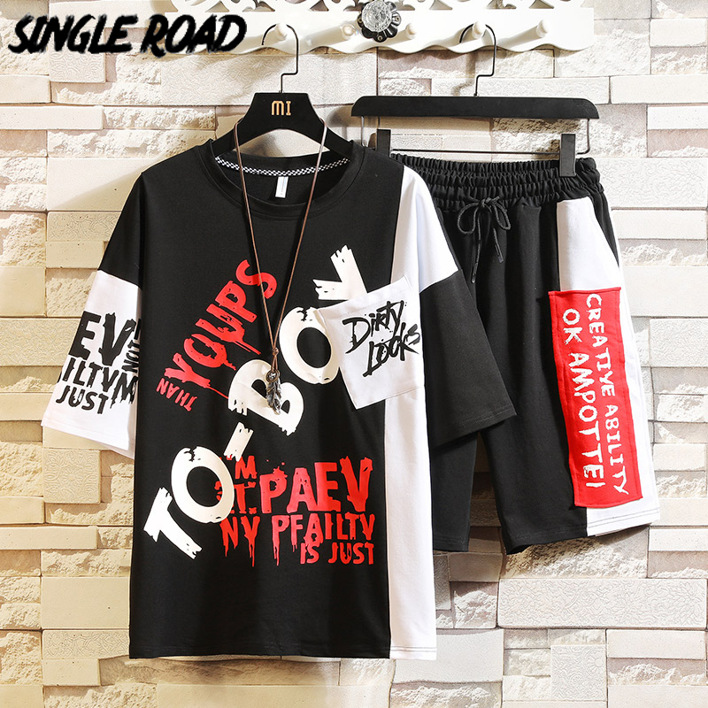 SingleRoad Mens Tracksuit Japanese Streetwear Sets 2020 Summer Harajuku Patchwork T-Shirt Shorts Men Hip Hop Korean Clothes Male