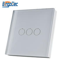 Bingoelec 3 Gang uzaktan verici duvar anahtarı kablosuz cam Panel denetleyici RF 433.92 MHZ dokunmatik ışıklı anahtar