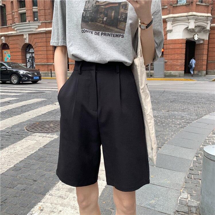 Hf242b537ffce44ba9aef9f80b6bc21a6I - Summer High Waist Wide Leg Loose Solid Shorts