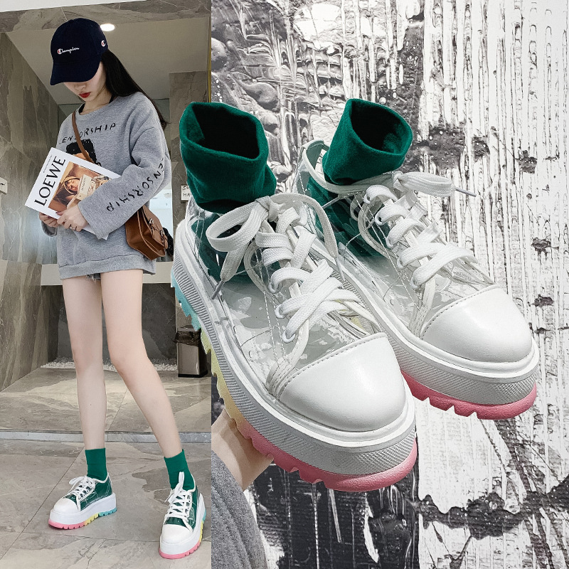CINESSD Rainbow Sole Colors Platform Sneakers Women Shoes Transparent White Sneakers Women 2020 New Trend Fashion Shoes Woman
