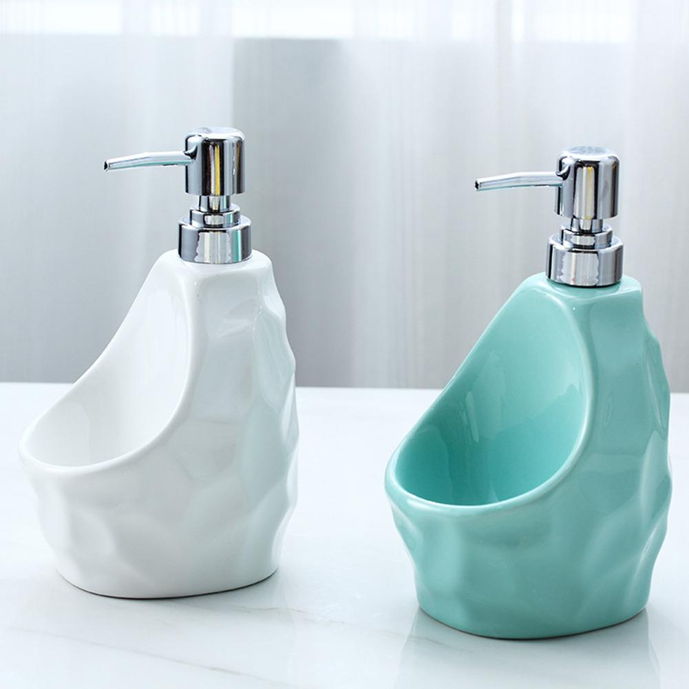 Ceramic Liquid Soap Dispenser Shampoo Shower Gel Soap Dispenser With Sponge Holder Ideal For Kitchen Or Bathroom Use Newer