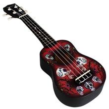 21 Inches Skull Pattern Ukulele Hawaii Guitar Acoustic Instrument Practice Ukulele Instrument for Beginner (Dark Red)
