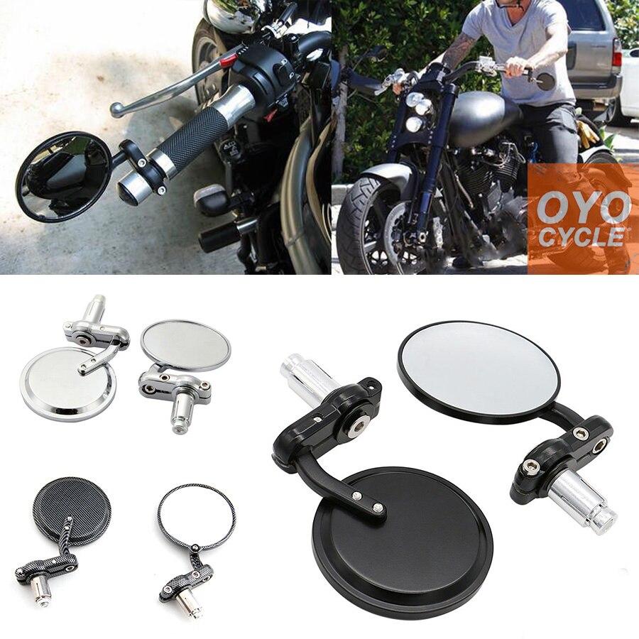Боковые зеркала для мотоцикла, велосипеда, черные алюминиевые круглые стильные универсальные, подходят для 7/8