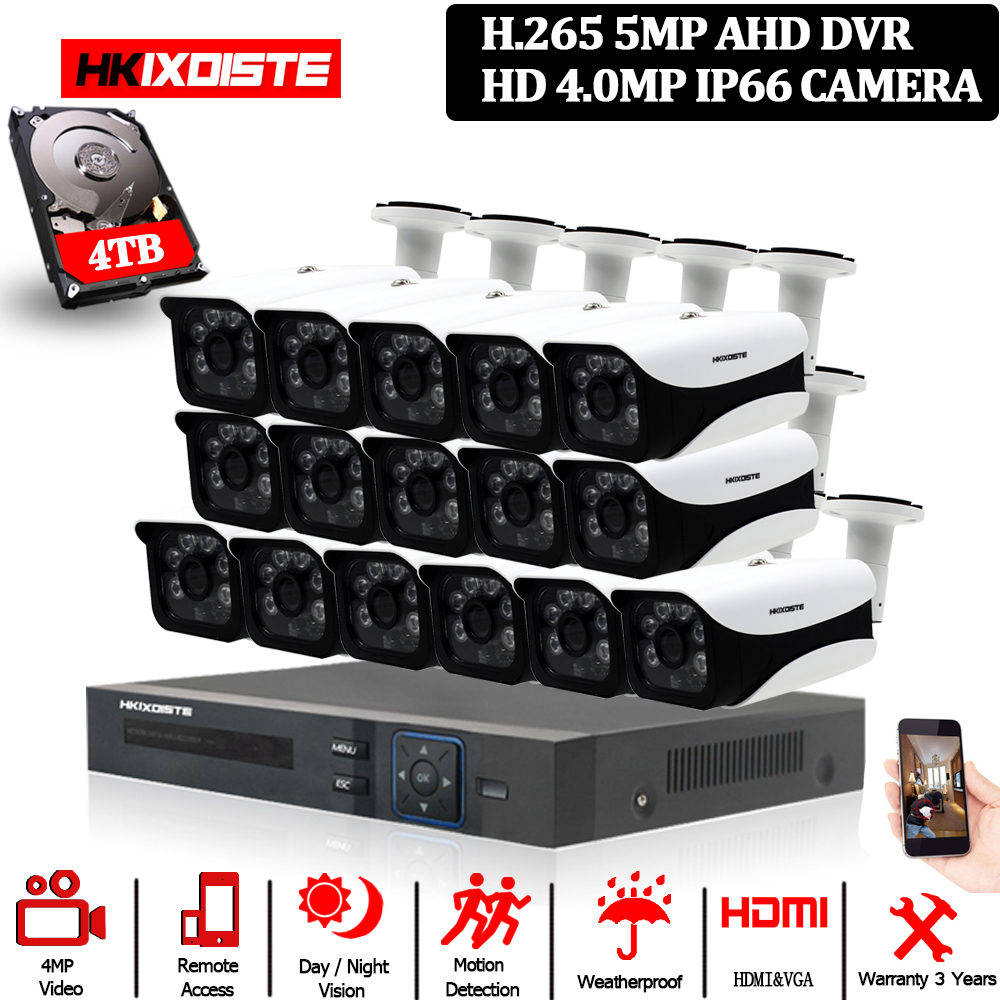 HKIXDISTE HD 16CH DVR Kit 4.0MP Security Camera CCTV System 16PCS AHD 4MP 6 array Camera Outdoor Weatherproof Surveillance Set-in Surveillance System from Security & Protection