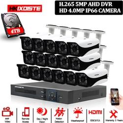 HKIXDISTE HD 16CH zestaw dvr 4.0MP kamera ochrony system cctv 16 sztuk AHD 4MP 6 tablicy kamery na warunki atmosferyczne na zewnątrz nadzoru zestaw