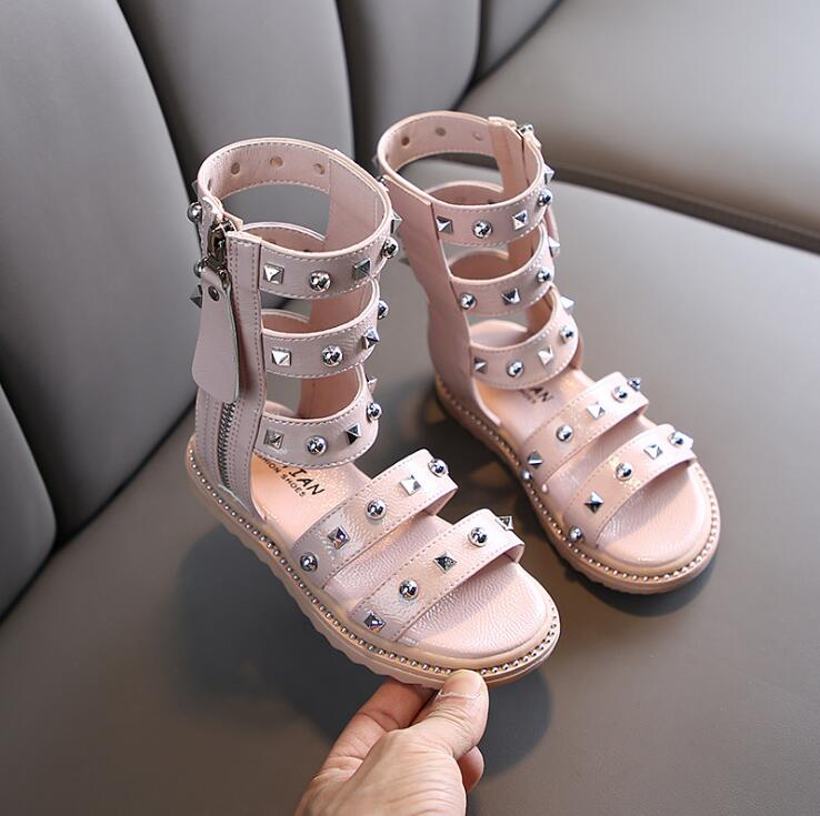Fashion Gladiator Sandals For Girls Pu Leather Kids Summer Shoes With Rivets Children Sandals High Boots Hollow Sandals For Girl