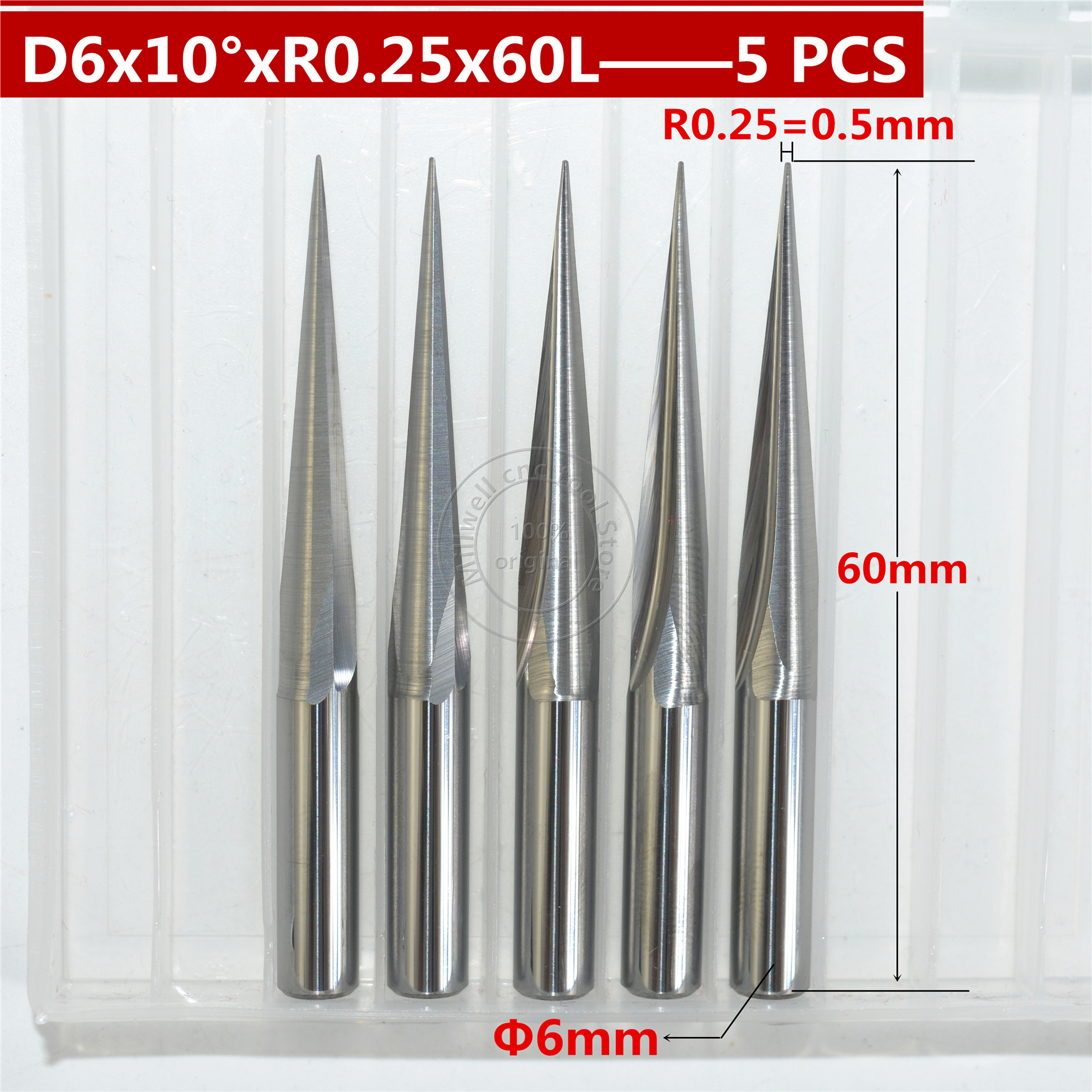 "1//8/"" Shank 1.5mm x 6mm Carbide Flat Nose End Mill Cutter CNC Router Bits"