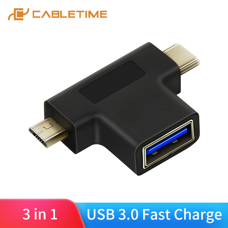 CABLETIME USB C OTG Type C To USB3.0 F Micro B 2.0 Adapter For Xiao Mi Huawei Mate Pro USB-C Splitter C016