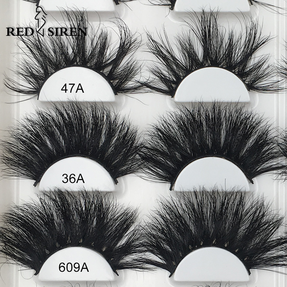 RED SIREN 25mm Lashes 3d Mink Lashes 29 Styles Dramatic Long Natural Eyelashes Make Up Wholesale Real Mink Fake Eyelashes
