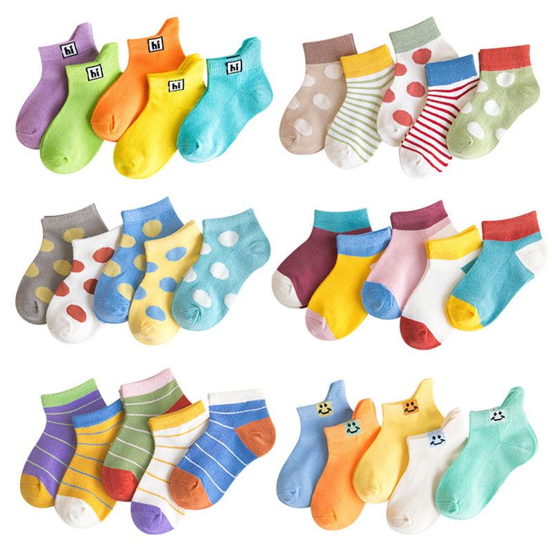 5 Pairs Lot Baby Short Cotton Socks Toddler Boys Girls Summer Mesh Thin Funny Rainbow Sock Kids Children Striped Colorful Socks